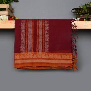Dark Maroon Coloured With Thread Work Cotton Saree