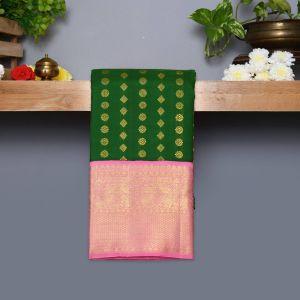 Dark Green Coloured Kanchipuram Silk Saree With Baby Pink Pallu