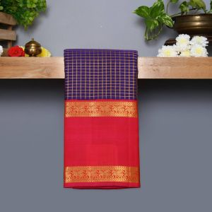 Dark Violet Coloured Kanchipuram Silk Saree With Pink Colour Pallu