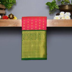 Rani Pink Coloured Kanchipuram Silk Saree With Dark Green Pallu