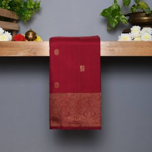 Arakku Coloured Kanchipuram Silk Saree With Fancy Traditional Pallu