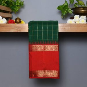 Green Coloured Kanchipuram  Silk  Saree With Contrast Rust Pallu