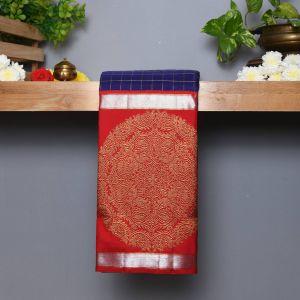 Royal Blue Coloured Kanchipuram Silk  Saree With Contrast Red Pallu