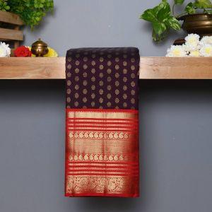 Coffee Brown Coloured  Kanchipuram  Silk  Saree With Contrast Red  Pallu