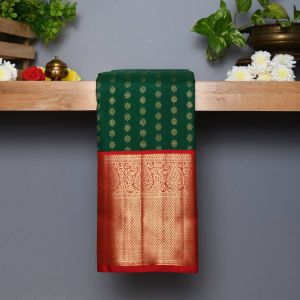 Dark Green Coloured Kanchipuram Silk  Saree With Contrast  Red Pallu