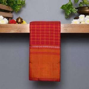 Arakku Coloured Kanchipuram Silk Saree With Contrast Mustard Border