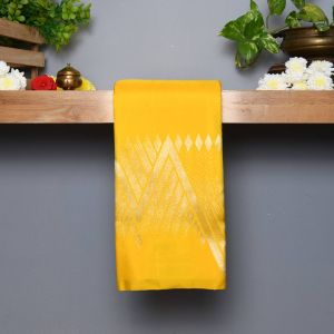 Yellow Coloured Kanchipuram Silk Saree With Contrast         Ink Blue Pallu