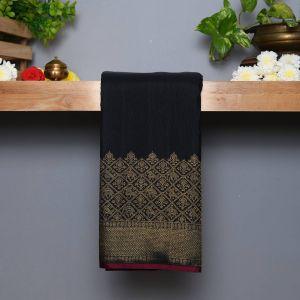Black  Coloured Kanchipuram Silk Saree With Fancy Pallu