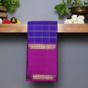 Violet Coloured Kanchipuram Silk Saree With Contrast Purple Pallu