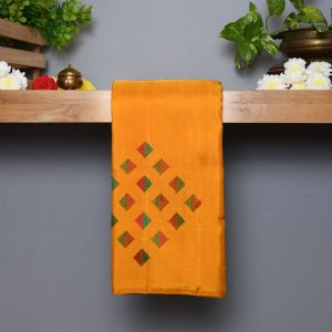 Mango Yellow Coloured Kanchipuram Silk  Saree With Contrast Bottle Green Brocket Blouse