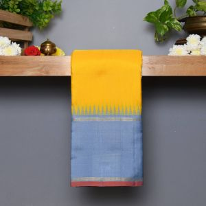 Mango Yellow Coloured  Kanchipuram  Silk  Saree With Contrast Pastel Blue Pallu