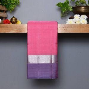 Baby Pink Coloured Kanchipuram Silk Saree with Contrast Lavender pallu