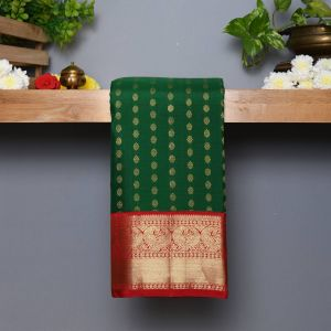 Green Coloured Kanchipuram  Silk  Saree With Contrast Red Pallu