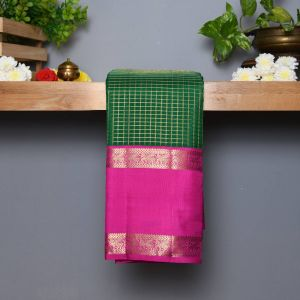 Green Coloured Kanchipuram Silk Saree With Contrast Lotus Pink Border