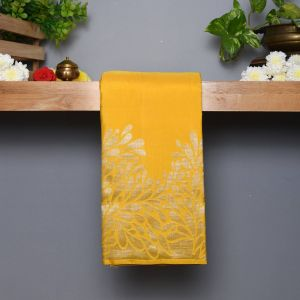 Yellow Coloured Kanchipuram Silk  Saree With Contrast Pastel Grey Blouse
