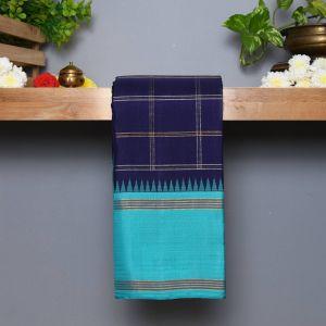 Royal Blue Coloured Kanchipuram Silk Saree with Safar Blue Pallu