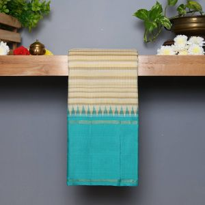 Half White Coloured Kanchipuram Silk Saree with Contrast Turquoise Blue pallu