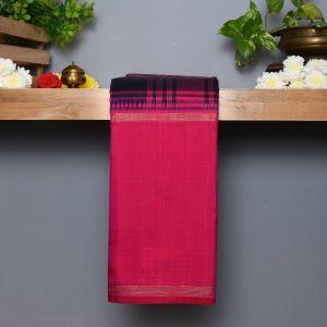 Mejantha pink and Navy Blue Checked Coloured Kanchipuram Silk Saree