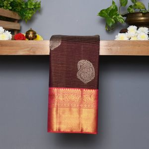 Coffee Brown Coloured Kanchipuram  Silk  Saree With Contrast Peach Pink  Blouse