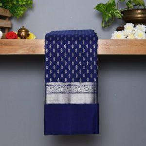Royal Blue Coloured Kanchipuram Silk Saree with Contrast Ocean Blue pallu