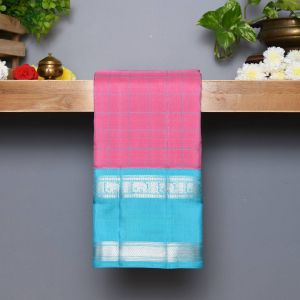 Baby Pink Coloured Kanchipuram Silk Saree With Contrast SkyBlue Pallu
