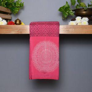 Peach Coloured Kanchipuram Silk Saree With Contrast Dark Coffee Brown Pallu