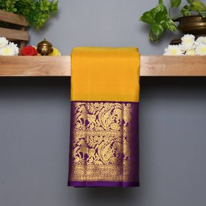 Mango Yellow Coloured Kanchipuram Silk  Saree With Contrast  Ganga Jamuna border