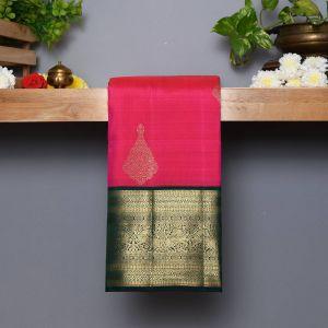 Rose Pink Coloured Kanchipuram Silk  Saree With Contrast  Dark Green Pallu