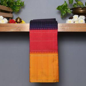 Navy Blue Coloured Kanchipuram Silk Saree With Contrast Peach and Mustard Border.