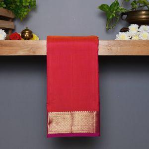 Orangish Pink Coloured Kanchipuram Silk Saree with Contrast Pink pallu