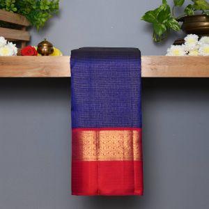 Ink Blue Coloured Kanchipuram  Silk  Saree With Contrast Reddish Pink  Pallu