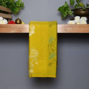 Dark Yellow Coloured Kanchipuram Silk Saree With Contrast Olive Green Pallu