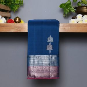 Peacock Blue Coloured Kanchipuram  Silk Saree With Contrast Peach Blouse