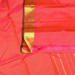 Pink Coloured Kanchipuram Silk Saree With Golden Zari Pallu