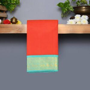 Red Coloured Kanchipuram Silk Saree With Safer Green Pallu