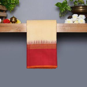 Half White Coloured Kanchipuram Silk Saree With Arakku Pallu