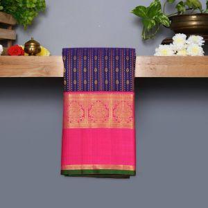 Dark Violet Coloured Kanchipuram Silk Saree With Pink Pallu