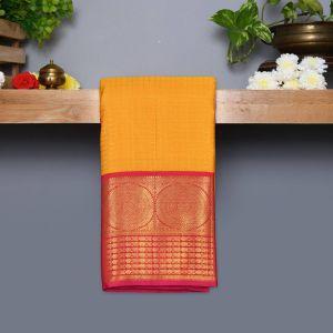 Mustard Yellow Coloured Kanchipuram Silk Saree With Reddish Pink Pallu