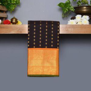 Dark Brown Coloured Kanchipuram Silk Saree With mastard Yellow Pallu
