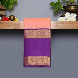 Light Peach Coloured Kanchipuram Silk Saree With Purple Pallu