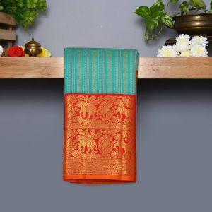Turquoise blue Coloured Kanchipuram Silk Saree With Red Pallu