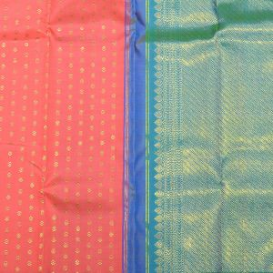 Lotus Pink Coloured Kanchipuram Silk Saree With Safer Green Pallu