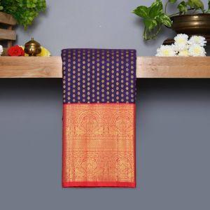 Dark Violet Coloured Kanchipuram Silk Saree With Reddish Pink Pallu
