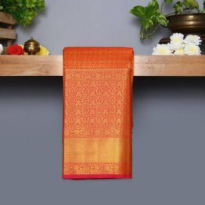 Chilly Red Coloured Kanchipuram Silk Saree With Golden Zari Pallu