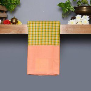 Multi Checks Coloured Kanchipuram Silk Saree With Pastel Peach Pallu