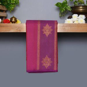 Purple Coloured Kanchipuram Silk Saree With Golden Zari Pallu
