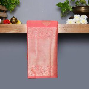 Pastel Pink Coloured Kanchipuram Silk Saree With Silver Zari Pallu