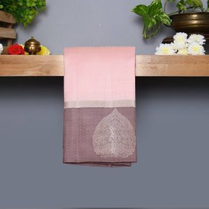 Pantone Baby Pink Coloured Kanchipuram Silk Saree With Pastel Gray Pallu