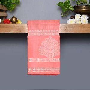 Pastle Peach Coloured Kanchipuram Silk Saree With Silver zari Pallu