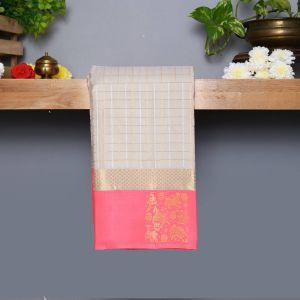 Silver Gray Coloured Kanchipuram Silk Saree With Peach Pink Pallu